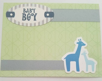 Baby Boy and Giraffes Card