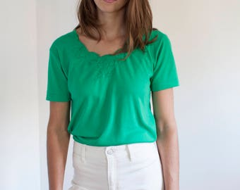 Green embellished tee - jersey tshirt - M