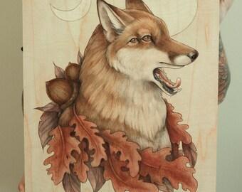 "18x24"" Autumnal Fox Limited Edition Fine Art Giclee Print on Wood"