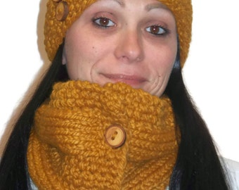 Warm Winter Cowl  Butterscotch with Handmade Wooden Buttons