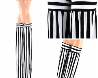 Stilt Covers in Black & White Stripe Spandex Stilting Leg Covers Cirque Costume 152832