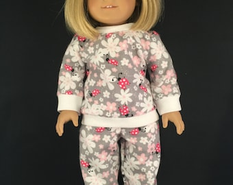 """Flannel pajamas for 18"""" American Girl doll"""