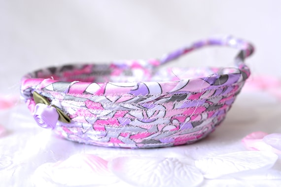 Mother's Day Gift Basket, Modern Violet Dish, Handmade Fabric Basket, Pink Sateen Basket, Artisan Quilted Fiber Bowl, Cute Desk Accessory