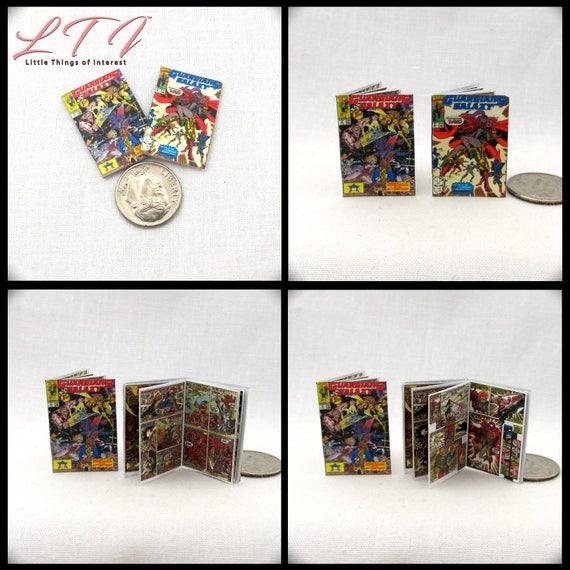 2 Miniature GUARDIANS Of The GALAXY Comic Books Dollhouse Readable 1:12 Scale *2 FOR 1* Marvel Movie Adventure Superhero Avengers