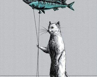 Cat Balloon Print