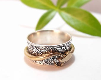 Silver Spinner Ring Snake Ring Ouroboros Ring Sterling Silver Mens Ring Womens Ring Garden of Eden Ring Adam and Eve Statement Ring