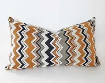 Chevron Pillow, Mens Pillow Covers, Lumbar Pillow, Accent Pillow, Striped Throw Pillow, Cream Black Gold, Zipper, Mens Home Decor, 12x20