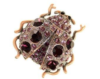 Ladybug Broach, Ladybug Brooch, Beetle Broach, Purple Rhinestone Bug Insect Jewelry Component, Lady Bug DIY Craft Project Embellishment
