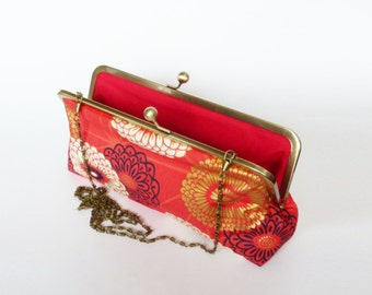 Clutch bag, red cream and gold chrysanthemum design, cotton clutch