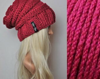 Bamboo and Merino slouch beanie, Slouchy beanie, slouch hat, Wool hat, Bamboo beanie, Red beanie.Chunky hand knit beanie hat.