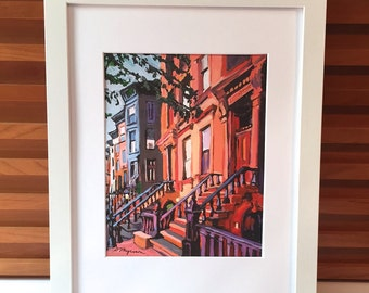 Brooklyn Painting. Brooklyn Brownstones, Brooklyn Art Print, Park Slope, Architectural New York Cityscape  peach Painting by Gwen Meyerson