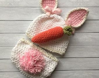 Bunny hat, baby bunny hat, Easter bunny hat, newborn bunny hat, white bunny hat, Easter hat, bunny ears, baby girl hat, bunny diaper cover