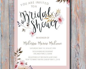 Spring & Floral Bridal Shower Invitation printable file