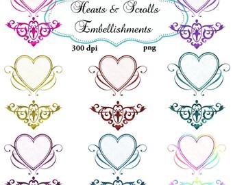 Clip Art:  Heart and Scrolls  Embellishments   Transparent Png  Files 106