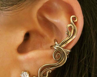 Minimalist Ear Cuff Bronze Ear Cuff Swirl Ear Cuff French Twist Ear Cuff Ear Wrap Wave Jewelry Swirl Non-Pierced Earring Bridesmaid Gift