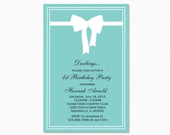 Breakfast at Tiffany's Birthday Party Invitation, White Bow, Teal Blue, Printable or Printed