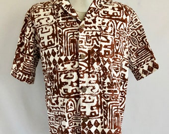 Vintage Men's 60's Hawaiian Shirt, White, Brown, Short Sleeve, Button Down (XL)