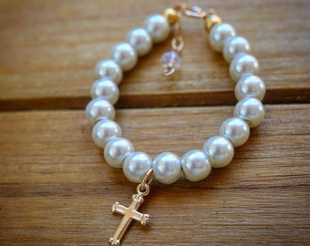 Baptism Bracelet First Communion Gift Flower Girl Bracelet Flower Girl Gift Flower Girl Jewelry Pearl with gold Cross Charm