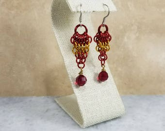 Chainmaille Earrings - Red & Gold Featuring Red Swarovski Beads