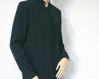 1990's Jacket Blouse Oriental Style Black Pinstripe Women's Suit Jacket Size 6