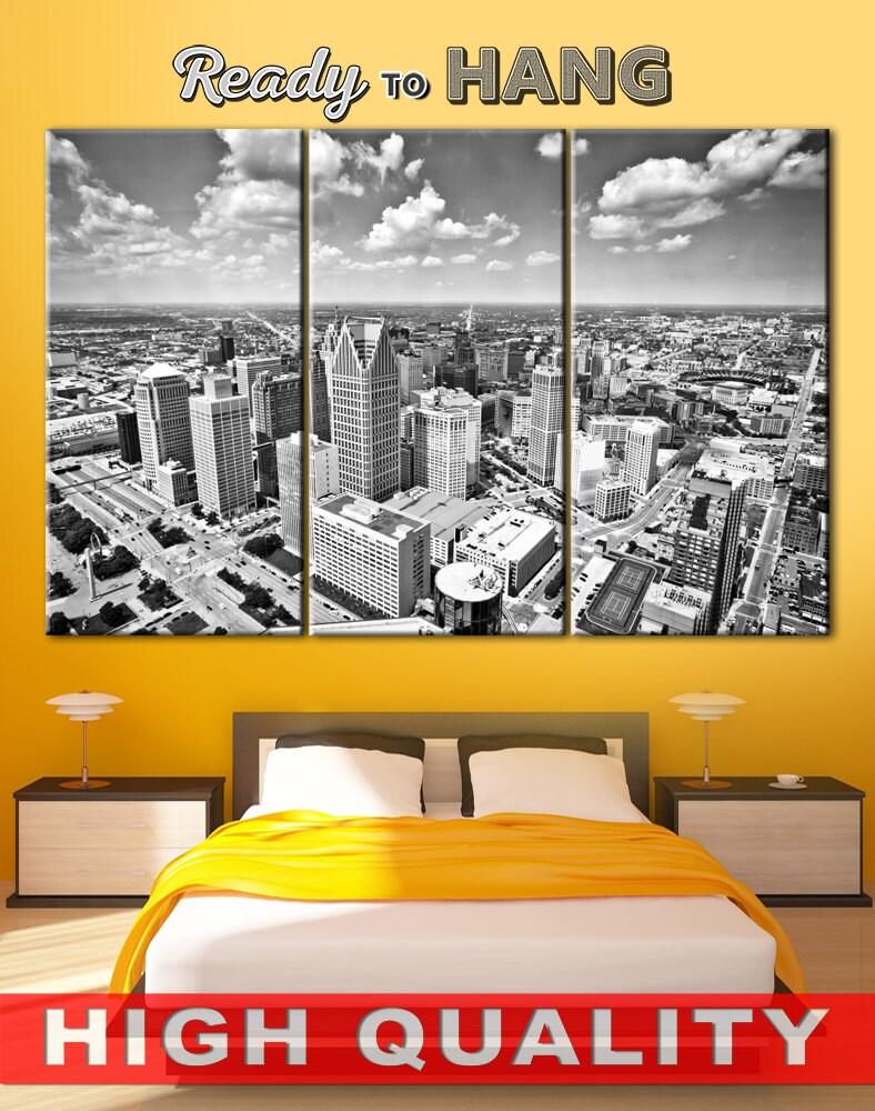 Detroit Skyline art Detroit canvas Typography canvas Split