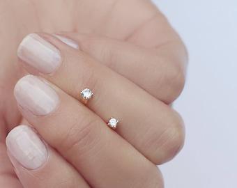 Tiny earrings - Diamond studs - Dainty cz studs - Gold studs - Gold Post earrings - Delicate earrings - Minimal studs - Minimalist studs