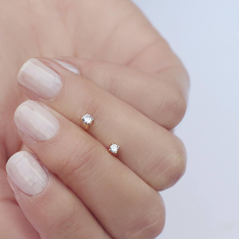 Tiny earrings Diamond studs Dainty cz studs Gold studs