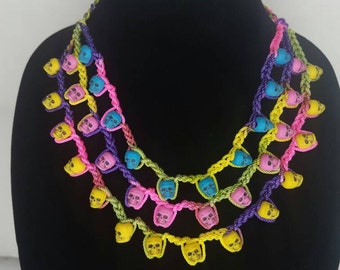 Neon bright crochet skull necklace - Dia de los muertos