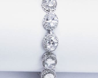 Cubic ZirconiaTennis Bracelet Bridal Bracelet  Cocktail Jewelry Best Gifts For Her