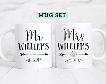 Mr and Mrs Mug Set / Mr. and Mrs. Mugs / Newlywed Mugs / Bride and Groom Coffee Mugs / Mr & Mrs Mug Gift / Couples Mugs / Wedding Mugs
