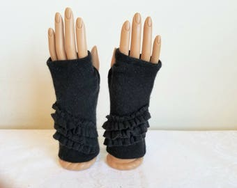 Tiered Ruffle Fingerless Gloves in Midnight  Black Cashmere