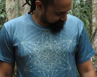 Aqua Star  Men's cotton Sacred Geometry T-shirt // Mandala Shirt  // Crystalotus Shirt // psychedelic shirt, festival shirt, trippy shirt