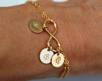 Infinity Gold Bracelet, Initial Infinity Disc Bracelet, Personalized Sterling silver Infinity, 1 2 3 4 5 Discs Infinity, Rose Gold Bracelet