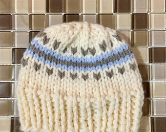 0-3 month Chunky Knit FairIsle Toque w/ detachable Pompom, Blue, Natural, Clay