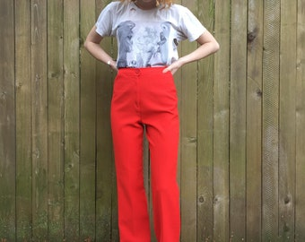 1970s Flares - Red Hot Disco Pants, 70s High Waisted Bell Bottoms
