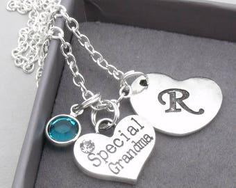 Special grandma heart initial necklace | grandma pendant | personalised grandma necklace | grandma jewelry | special grandma gift