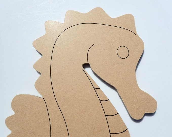 Seahorse Plaque - Unfinished MDF - 12 inch