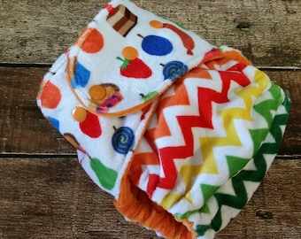 One Size Hybrid Fitted Cloth Diaper Hungry Caterpillar Minky