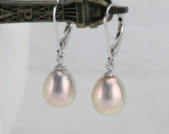 Natural metallic color pearl earrings ,freshwater drop pearl earrings sterling silver,unique earrings,best special gift for wife and lover
