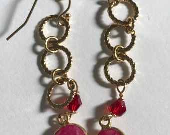 Ruby bezel drop gold overlay earrings, Lilyb444, Gifts for her, Gifts for women,
