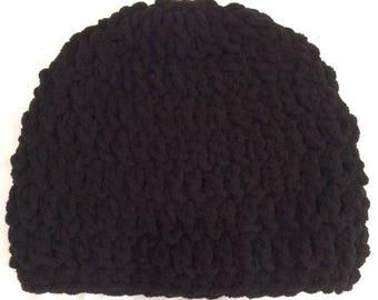 Crochet black chunky hat/beanie/ skullcap for adult