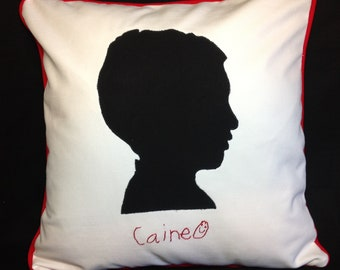 Silhouette Pillow Custom Made  Appliqué Profile Personalized