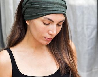 Olive Green Headband  Bohemian Head Scarf  Hair Wrap Wide Yoga Headband Boho Head Wrap