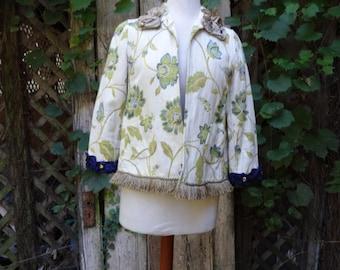 Shabby Chic Jacket,Short Jacket,Boho Jacket,Cottage Chic Jacket, by Nine Muses Of Crete