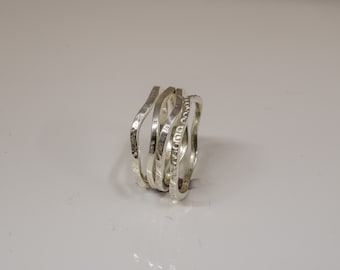 Hand Made Silver stack rings set of four