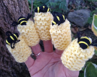 Set of Five Bee Finger Puppets