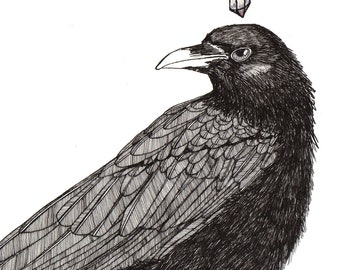 crow thoughts: sparkle ORIGINAL illustration black and metallic ink on paper  6 x 6
