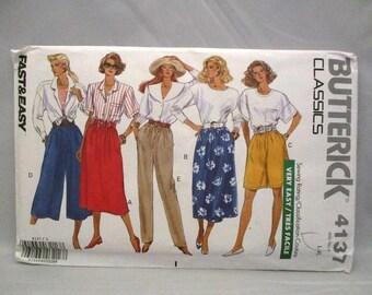 Butterick 4137 Classics Very Easy Misses/Misses Petite Skirt Shorts Culottes and Pants Size L-XL UNCUT