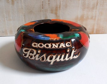 Ashtray advertising Cognac Bisquit - french Vintage 60s/70s - Bistro - cigars
