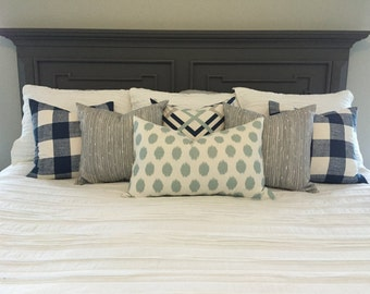 Set of Six Coordinating Down Feather Pillows